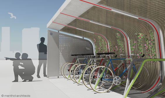 view of the bicycle parking