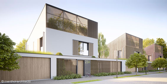 passive house with diffrrent facade materials